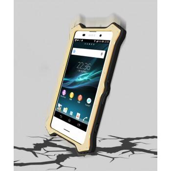 Антиударный пылевлагозащищенный гибридный премиум чехол силикон/металл/закаленное стекло со съёмной крышкой с окном вызова и свайпом для Sony Xperia Z3+