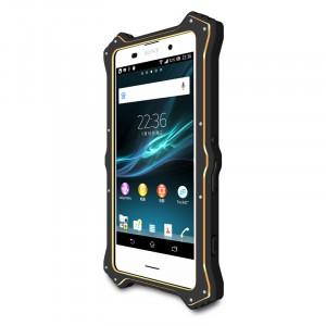 Антиударный пылевлагозащищенный гибридный премиум чехол силикон/металл/закаленное стекло со съёмной крышкой с окном вызова и свайпом для Sony Xperia Z3+ Черный