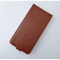 Чехол вертикальная глянцевая книжка на пластиковой основе с магнитной застежкой для Lenovo A536 Ideaphone Коричневый