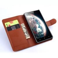 Чехол портмоне подставка с защелкой для Lenovo A536 Ideaphone Коричневый