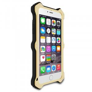 Антиударный пылевлагозащищенный гибридный премиум чехол силикон/металл/закаленное стекло со съёмной крышкой с окном вызова и свайпом для Iphone 6 Plus/6s Plus Бежевый