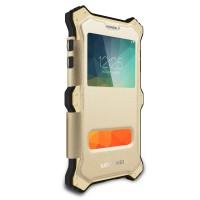 Антиударный пылевлагозащищенный гибридный премиум чехол силикон/металл/закаленное стекло со съёмной крышкой с окном вызова и свайпом для Samsung Galaxy Note 5 Бежевый