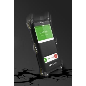 Антиударный пылевлагозащищенный гибридный премиум чехол силикон/металл/закаленное стекло со съёмной крышкой с окном вызова и свайпом для Samsung Galaxy S6 Edge