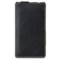 Чехол кожаный книжка вертикальная для Sony Xperia ZL Черный