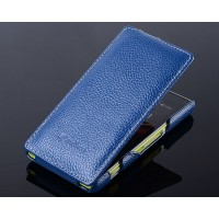Кожаный чехол книжка вертикальная для Sony Xperia M Синий