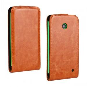 Чехол вертикальная книжка на пластиковой основе для Nokia Lumia 630/635 Оранжевый