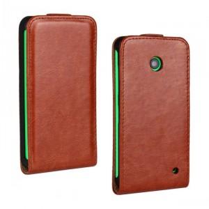 Чехол вертикальная книжка на пластиковой основе для Nokia Lumia 630/635 Коричневый