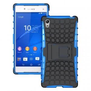 Антиударный силиконовый чехол экстрим защита с подставкой для Sony Xperia Z5 Синий