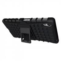 Антиударный силиконовый чехол экстрим защита с подставкой для Sony Xperia Z5 Черный