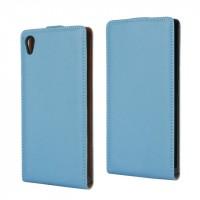 Чехол вертикальная книжка на пластиковой основе с магнитной застежкой для Sony Xperia Z5 Голубой