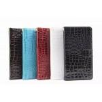 Чехол портмоне подставка с магнитной защелкой текстура Крокодил для Sony Xperia Z5