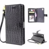Чехол портмоне подставка с магнитной защелкой текстура Крокодил для Sony Xperia Z5 Черный