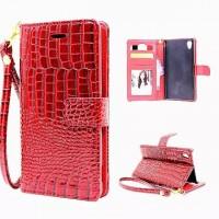 Чехол портмоне подставка с магнитной защелкой текстура Крокодил для Sony Xperia Z5 Красный