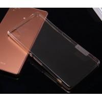 Силиконовый матовый полупрозрачный чехол повышенной ударостойкости для Sony Xperia Z5 Коричневый