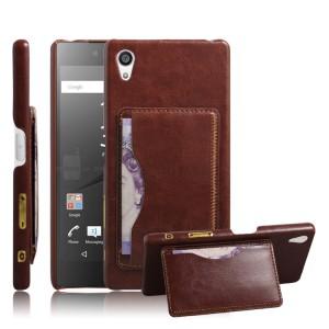 Дизайнерский кожаный чехол накладка с отделениями для карт с подставкой для Sony Xperia Z5 Коричневый
