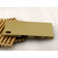 Пластиковый матовый металлик чехол для Sony Xperia Z5 Бежевый