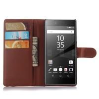 Чехол портмоне подставка с защелкой для Sony Xperia Z5 Коричневый