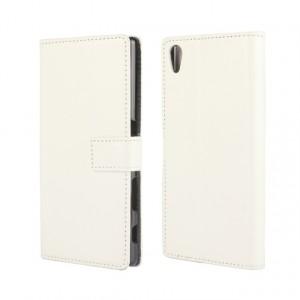 Глянцевый чехол портмоне подставка на пластиковой основе с защелкой для Sony Xperia Z5 Белый