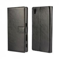 Глянцевый чехол портмоне подставка на пластиковой основе с защелкой для Sony Xperia Z5 Черный
