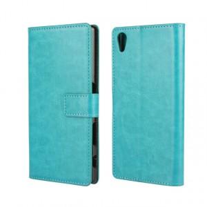 Глянцевый чехол портмоне подставка на пластиковой основе с защелкой для Sony Xperia Z5 Голубой