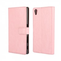 Глянцевый чехол портмоне подставка на пластиковой основе с защелкой для Sony Xperia Z5 Розовый