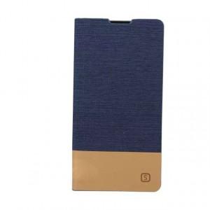 Текстурный тканевый чехол флип подставка с отделением для карты для Sony Xperia Z5 Синий