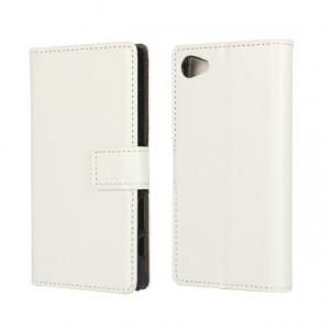 Глянцевый чехол портмоне подставка с защелкой для Sony Xperia Z5 Compact Белый