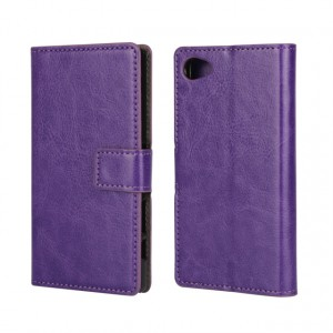 Глянцевый чехол портмоне подставка с защелкой для Sony Xperia Z5 Compact Фиолетовый