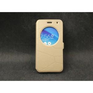 Чехол флип подставка на силиконовой основе с круглым окном вызова текстура Линии для ASUS Zenfone 2 Laser 5 ZE500KL
