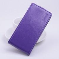 Глянцевый чехол вертикальная книжка на силиконовой основе с магнитной застежкой для Lenovo A328 Фиолетовый