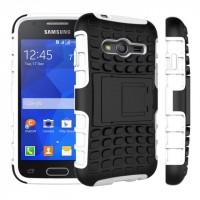 Антиударный силиконовый чехол экстрим защита с подставкой для Samsung Galaxy Ace 4 Белый