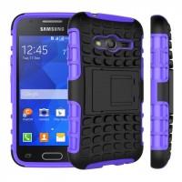 Антиударный силиконовый чехол экстрим защита с подставкой для Samsung Galaxy Ace 4 Фиолетовый