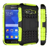 Антиударный силиконовый чехол экстрим защита с подставкой для Samsung Galaxy Ace 4 Зеленый