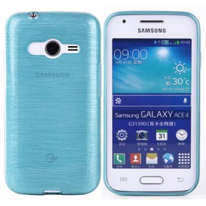 Силиконовый матовый полупрозрачный чехол текстура Металл для Samsung Galaxy Ace 4
