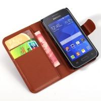 Чехол портмоне подставка с защелкой для Samsung Galaxy Ace 4 Коричневый
