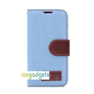 Тканевый чехол портмоне подставка на силиконовой основе для Samsung Galaxy S5 Mini Голубой