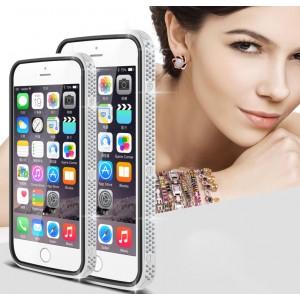 Дизайнерский металлический бампер с инкрустацией стразами и магнитным съемным флипом подставкой с окном вызова и свайпом для Iphone 6/6s Серый