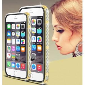 Дизайнерский металлический бампер с инкрустацией стразами и магнитным съемным флипом подставкой с окном вызова и свайпом для Iphone 6 Plus/6s Plus Бежевый