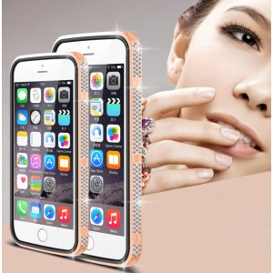 Дизайнерский металлический бампер с инкрустацией стразами и магнитным съемным флипом подставкой с окном вызова и свайпом для Iphone 6/6s Розовый