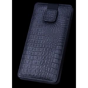 Кожаный мешок (нат кожа крокодила) на динамической липучке для Samsung Galaxy S6 Edge Plus Черный