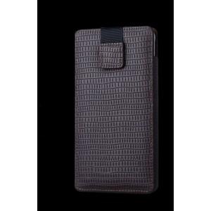 Кожаный мешок (нат. кожа) на динамической липучке для Samsung Galaxy S6 Edge Plus Коричневый