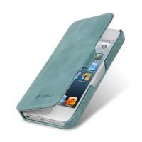 Кожаный винтажный чехол горизонтальная книжка с крепежной застежкой для Apple Iphone 5/5s/SE Голубой
