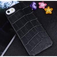 Кожаный чехол накладка (кожа крокодила) для Apple Iphone 5/5s/SE Черный