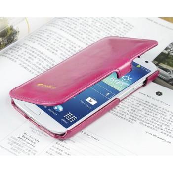 Кожаный глянцевый чехол горизонтальная книжка с крепежной застежкой для Samsung Galaxy S4