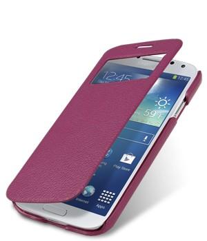 Кожаный чехол горизонтальная книжка с окном вызова для Samsung Galaxy S4