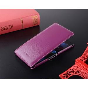 Кожаный чехол вертикальная книжка для Sony Xperia Z Ultra Фиолетовый