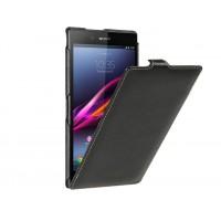 Кожаный чехол вертикальная книжка для Sony Xperia Z Ultra Черный