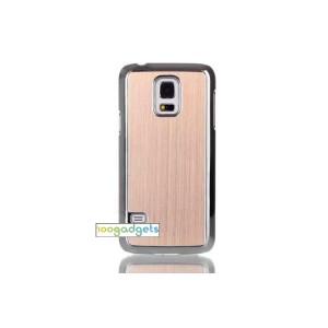 Двухкомпонентный чехол с пластиковым бампером и накладкой текстура Металл для Samsung Galaxy S5 Mini