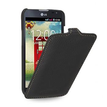 Кожаный чехол вертикальная книжка (нат. кожа) для LG L90