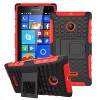 Антиударный силиконовый чехол экстрим защита с подставкой для Microsoft Lumia 435 Красный